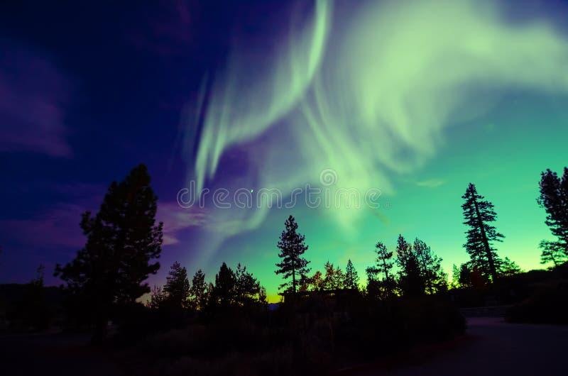 Aurora borealis dell'aurora boreale nel cielo notturno sopra il bello paesaggio del lago immagine stock