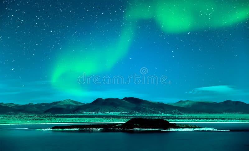 Aurora borealis dell'aurora boreale sopra gli alberi immagini stock libere da diritti