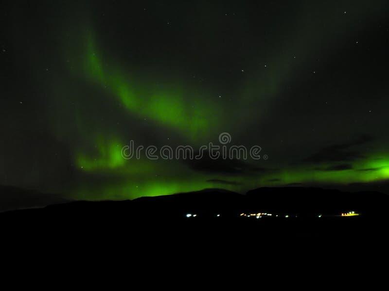 Aurora Borealis die op Hveragerdi glanzen stock afbeelding