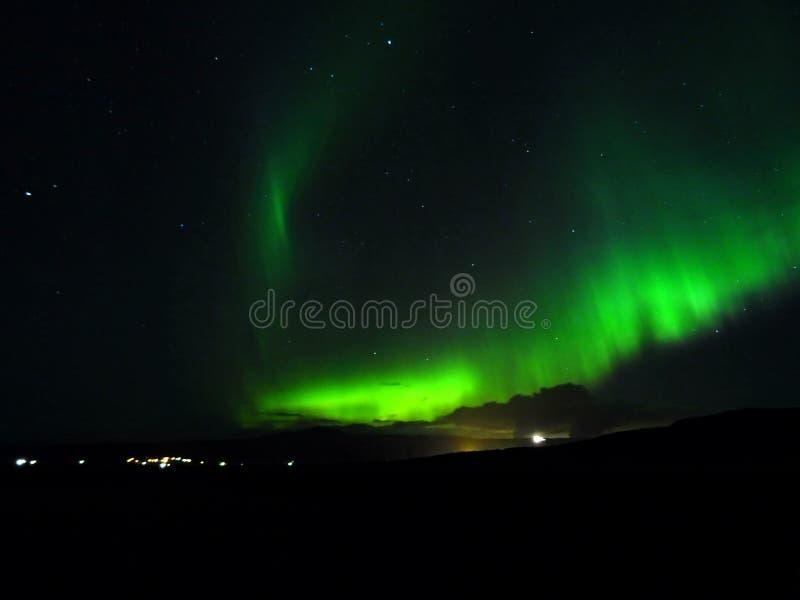 Aurora Borealis die op Hveragerdi glanzen stock fotografie