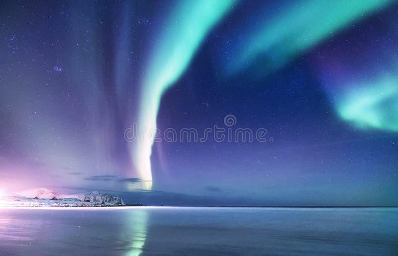 Aurora borealis en las islas de Lofoten, Noruega Aurora boreal verde sobre las montañas Cielo nocturno con las luces polares Invi imagen de archivo