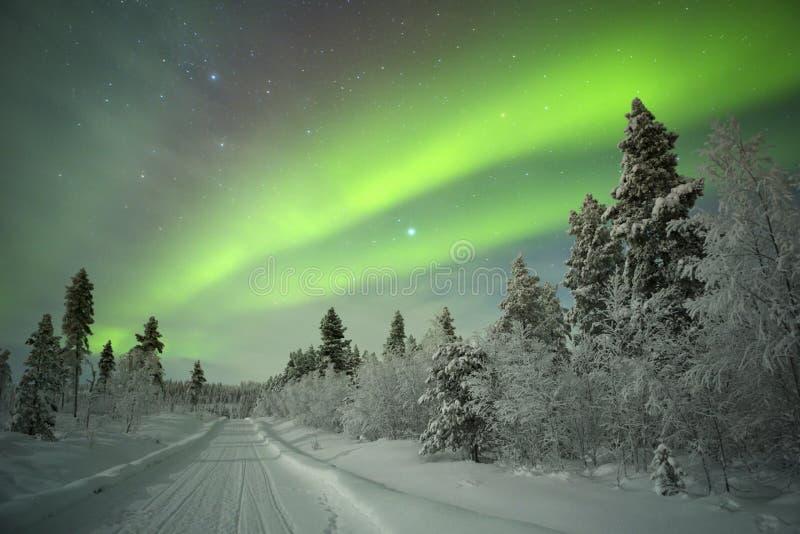 Aurora borealis in Finnish Lapland stock images