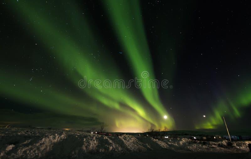 Aurora Borealis in het Nationale Park van Pingvellir, Zuid-IJsland stock foto