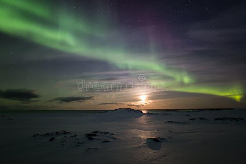 Aurora borealis in het Noordpoolgebied stock foto