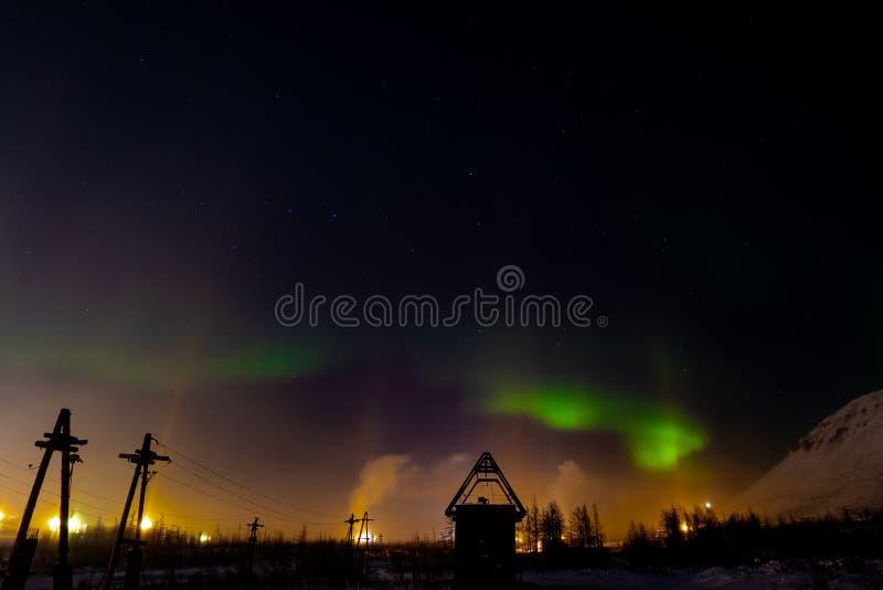 Aurora Borealis i gwiazdozbiory, Norilsk obrazy stock
