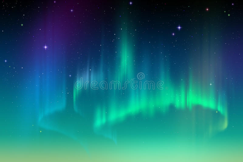 Aurora Borealis, ilustração polar do fundo do céu noturno do sumário ilustração stock