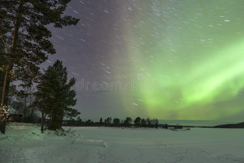 Aurora Borealis in Inari, Lapland. Finland royalty free stock images