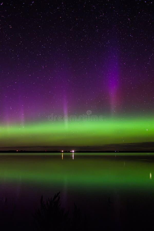 Aurora borealis, lago largo, Dakota del Norte fotografía de archivo libre de regalías