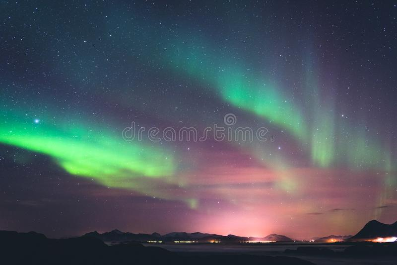 Aurora borealis Lofoten royalty-vrije stock fotografie