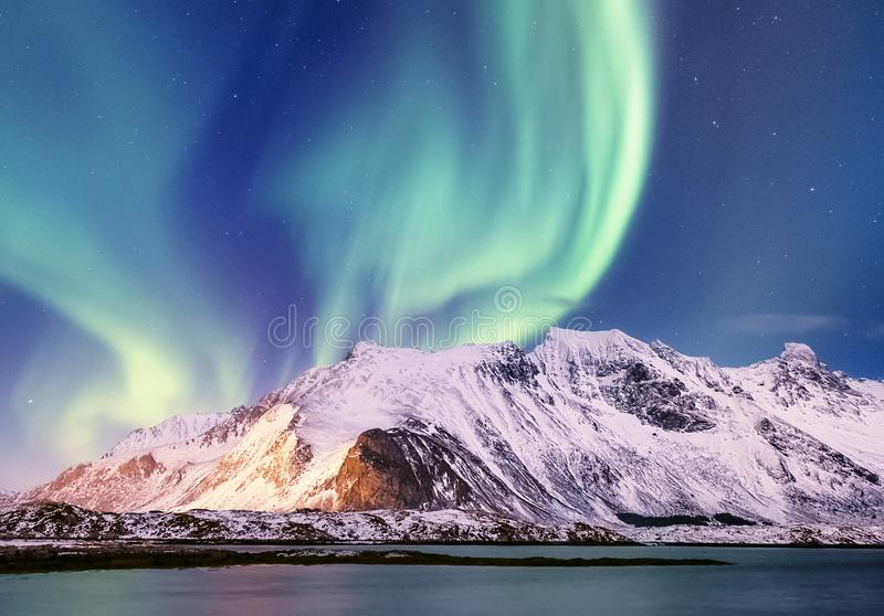Aurora borealis on the Lofoten islands, Norway. Green northern lights above mountains. Night sky with polar lights. Night winter l. Andscape with aurora and stock photography