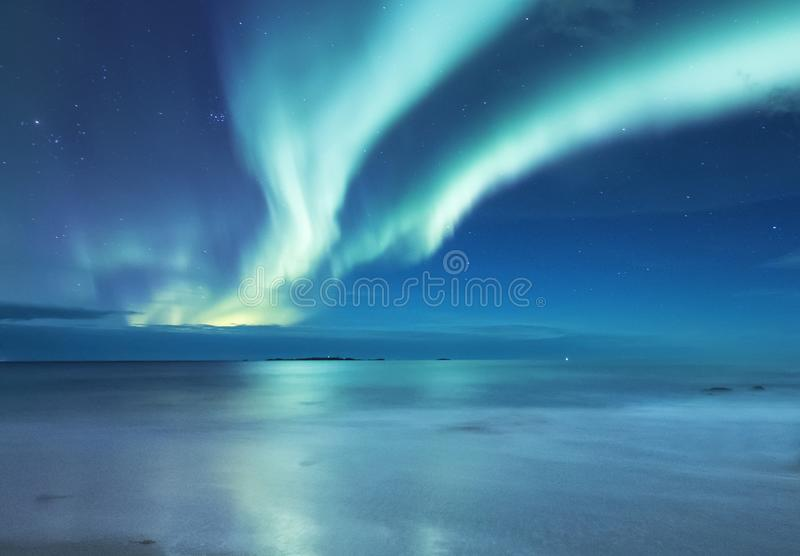 Aurora borealis on the Lofoten islands, Norway. Green northern lights above ocean. Night sky with polar lights. Night winter lands. Cape with aurora and stock photos