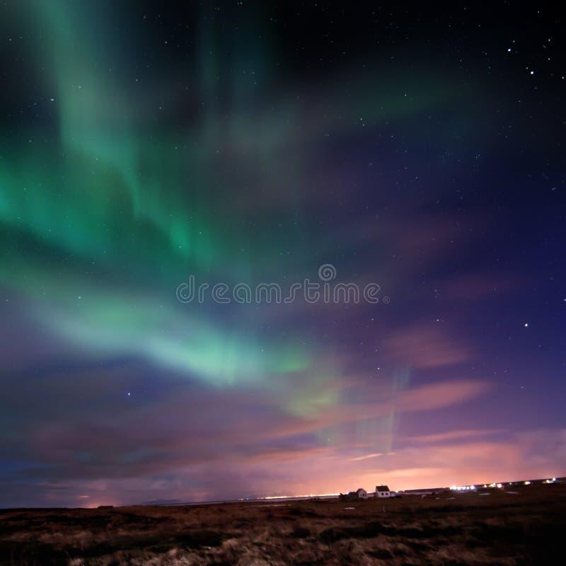 Aurora Borealis (luzes do norte) ilustração royalty free