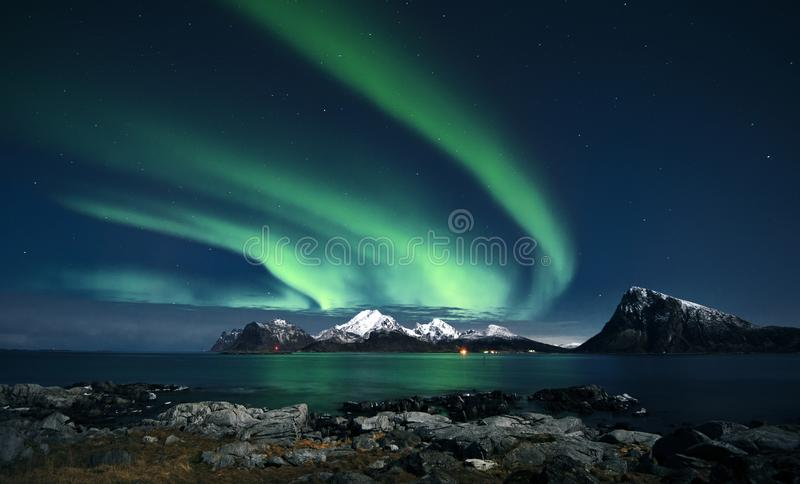 Aurora Borealis Madame verte du nord image libre de droits
