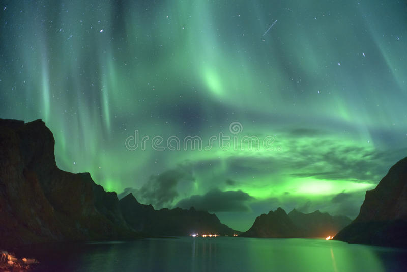 Aurora Borealis and a meteor (northern lights) from Lofoten, Norway royalty free stock image