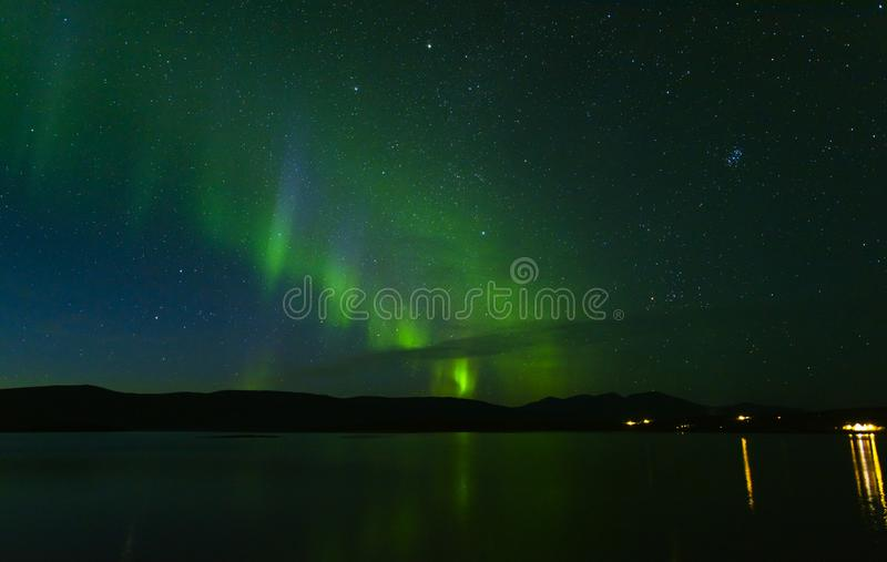 Aurora borealis in Noordelijk Zweden royalty-vrije stock foto's