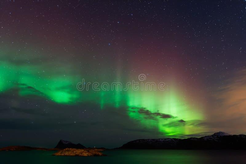 Aurora Borealis nordliga ljus arkivbilder