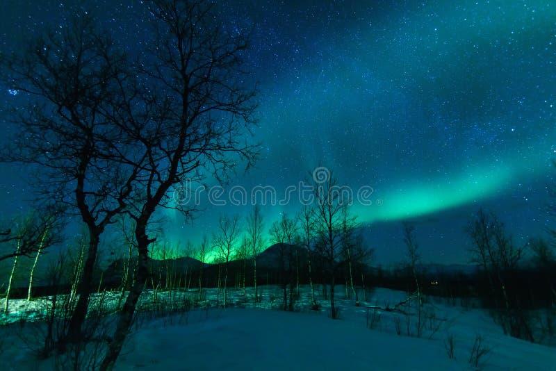 Aurora Borealis Northen lights phenomenon. Aurora Borealis Northen lights phenomenon in Nikkaluokta, Sweden stock photo
