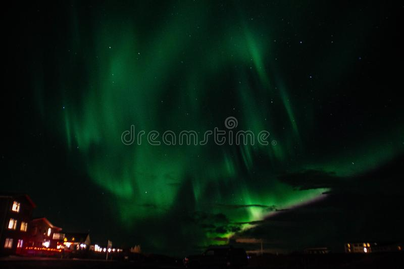 Aurora Borealis/Northern lights above Iceland royalty free stock photography