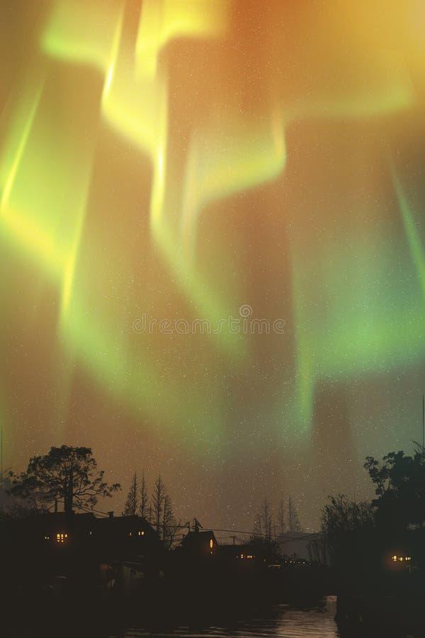 Aurora borealis, northern lights above village stock illustration