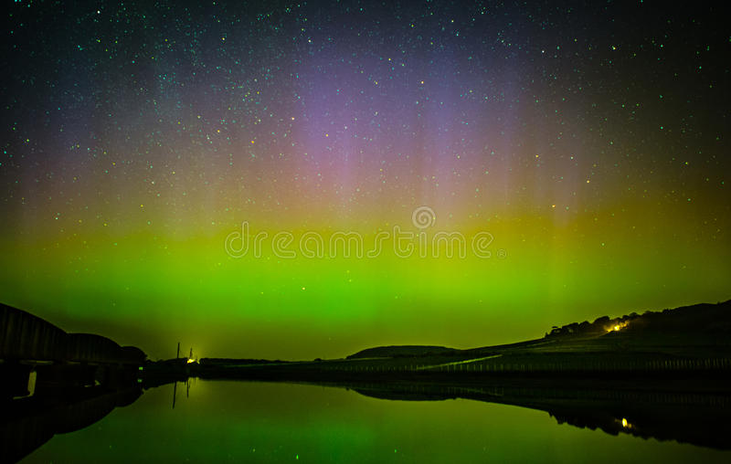 Aurora Borealis Northern lights. Aurora Borealis aka The Northern Lights seen here in star filled sky, March 2015 over Wales, United Kingdom