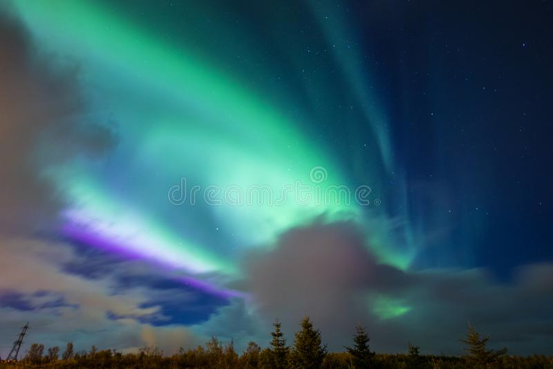 Aurora Borealis Northern Lights i Island arkivfoto