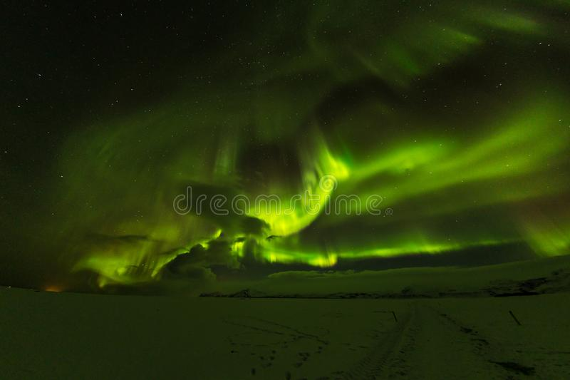 Aurora borealis, northern lights in Iceland during winter. stock photos