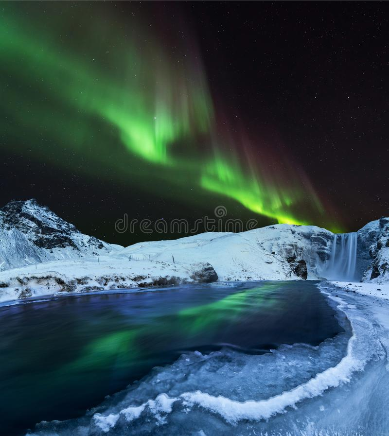 Aurora borealis, northern lights in Iceland during winter. stock image