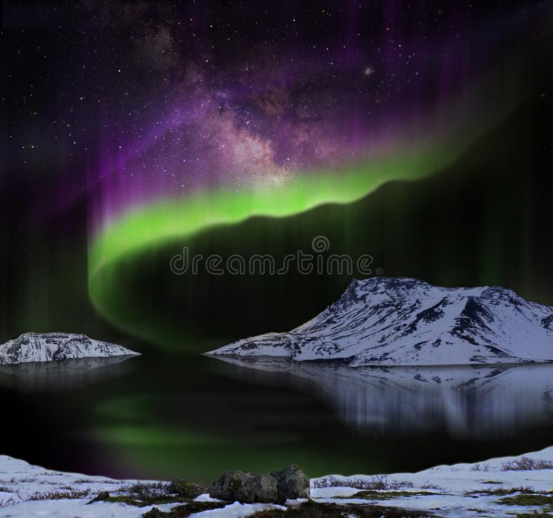 Aurora Borealis or Northern lights royalty free stock images