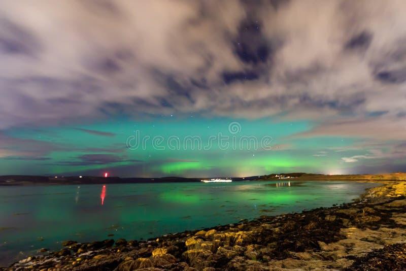 Aurora borealis northern lights in Scotland stock photography