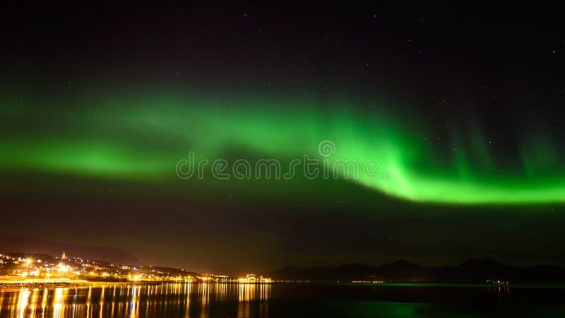 Aurora borealis o aurora boreal en el cielo en Tromso, Noruega imagen de archivo libre de regalías