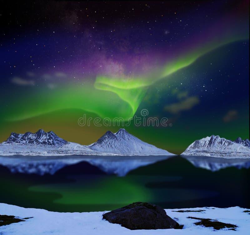 Aurora borealis o aurora boreale immagini stock