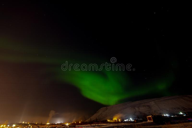 Aurora Borealis och konstellationer, Norilsk arkivbilder