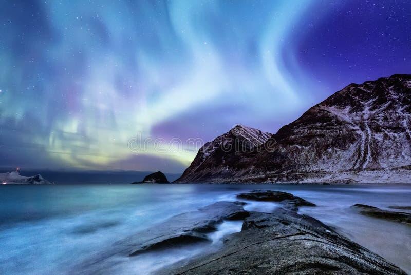 Aurora borealis op de Lofoten-eilanden, Noorwegen Groene noordelijke lichten boven bergen Nachthemel met polaire lichten stock foto's