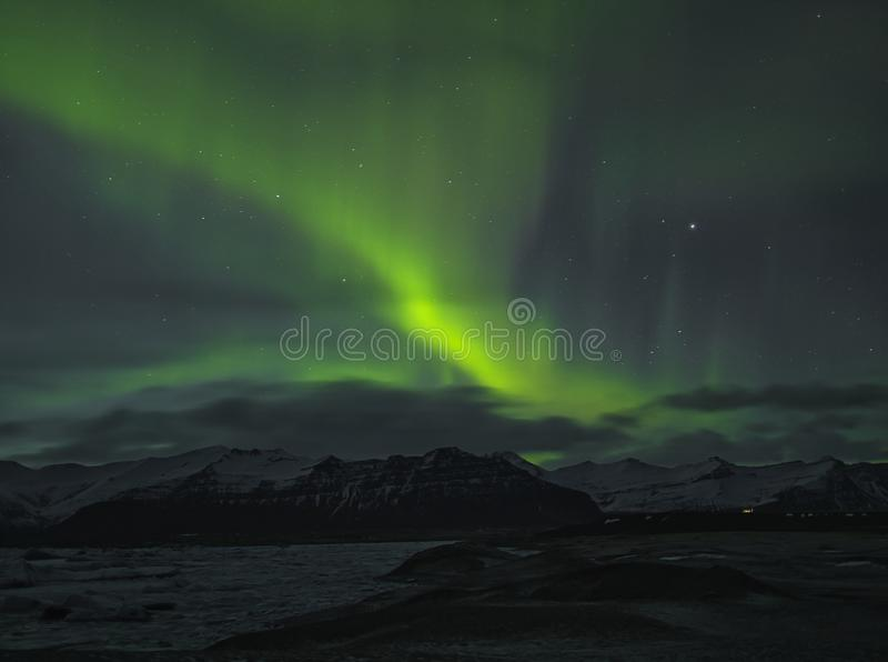 Aurora Borealis over the lagoon at Jökulsarlon stock photography