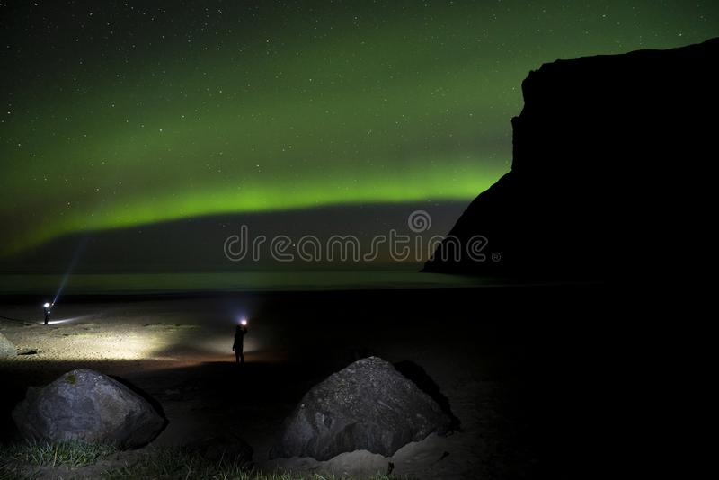 Aurora borealis over the mountains of Lofoten, Norway stock photography