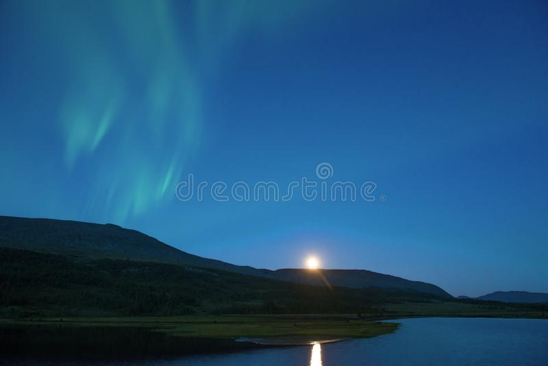 Aurora Borealis over the northern lake, early summer morning. Yamal, Russia. Aurora Borealis over the northern lake in the early summer morning. Yamal, Russia royalty free stock photography