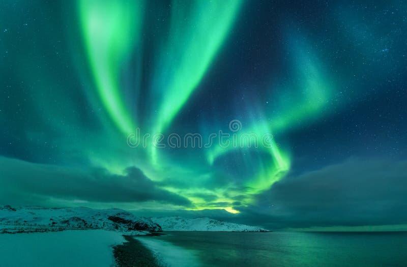 Aurora borealis over oceaan Noordelijke lichten stock afbeeldingen