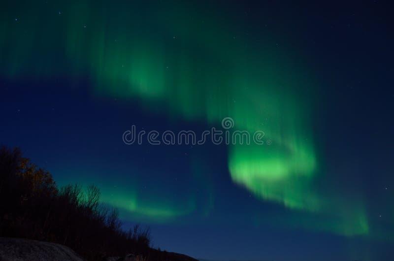 Aurora borealis poderoso que dança no céu noturno atrasado do outono imagens de stock royalty free