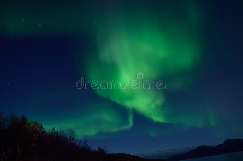 Aurora borealis poderoso que dança no céu noturno atrasado do outono no círculo ártico imagem de stock