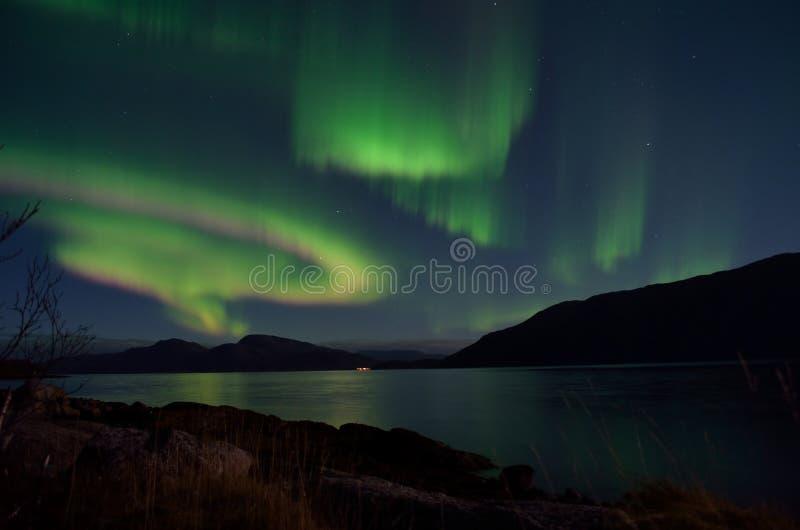 Aurora borealis puissant dansant sur le ciel nocturne au-dessus de la montagne et du paysage de fjord en automne en retard photos stock