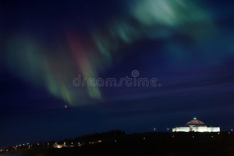 Aurora Borealis - Reykjavik - Islândia imagens de stock