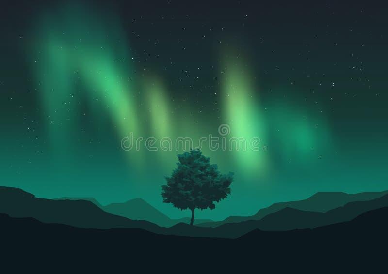 Aurora Borealis sobre uma árvore ilustração stock