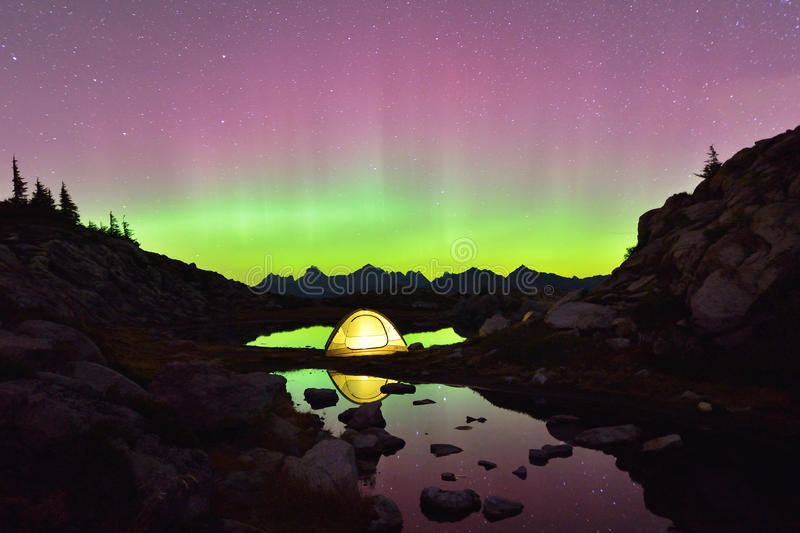 Aurora Borealis and tent on Artist Point, Mt. Baker. Snoqualmie National Forest royalty free stock photos