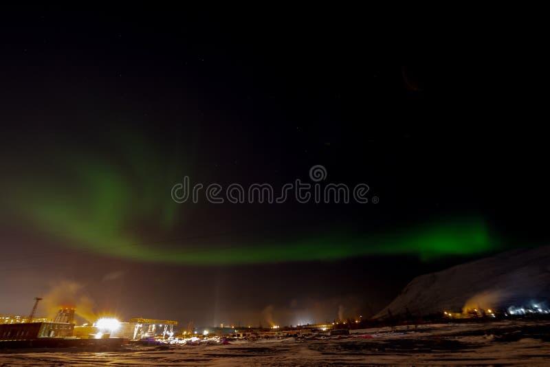 Aurora Borealis y constelaciones, Norilsk foto de archivo libre de regalías