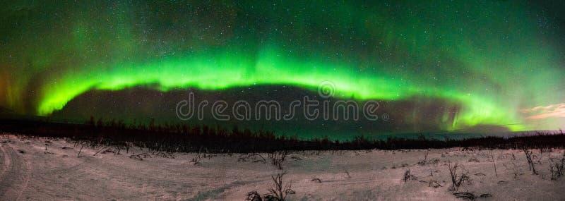 Aurora BorealisNorthern Lights Panorama de Fairbanks Alaska imagens de stock