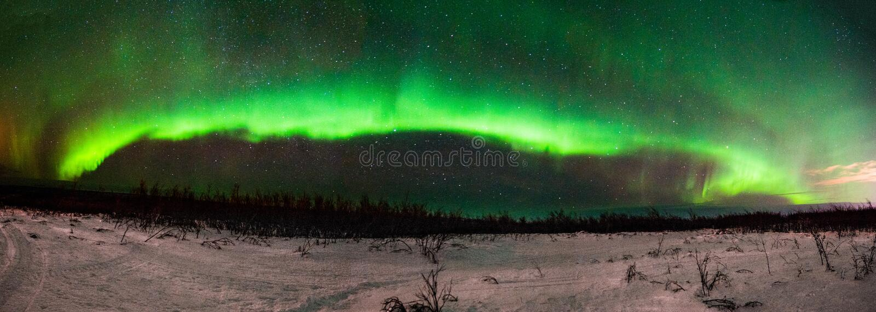 Aurora BorealisNorthern Lights Panorama van Fairbanks Alaska stock afbeeldingen