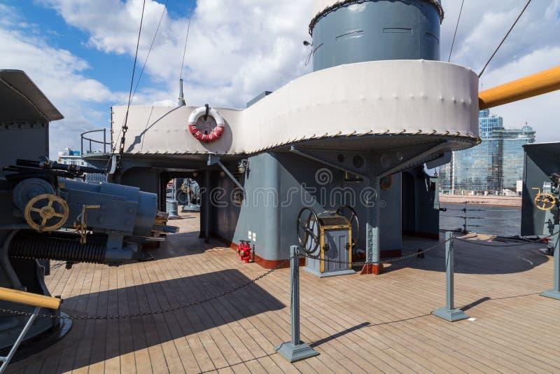 Aurora cruiser on Neva river in Saint Petersburg, Russia.  royalty free stock image