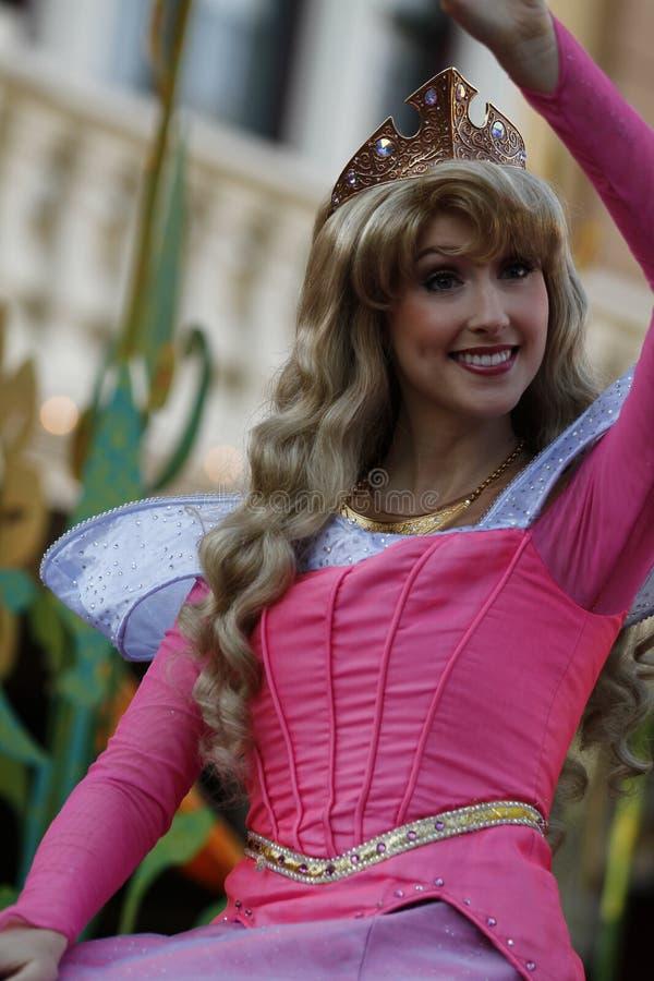 A Aurora da Bela Adormecida na parada de Disneylândia fotos de stock