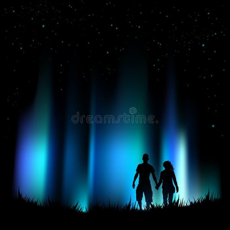 Aurora de las luces norteñas stock de ilustración