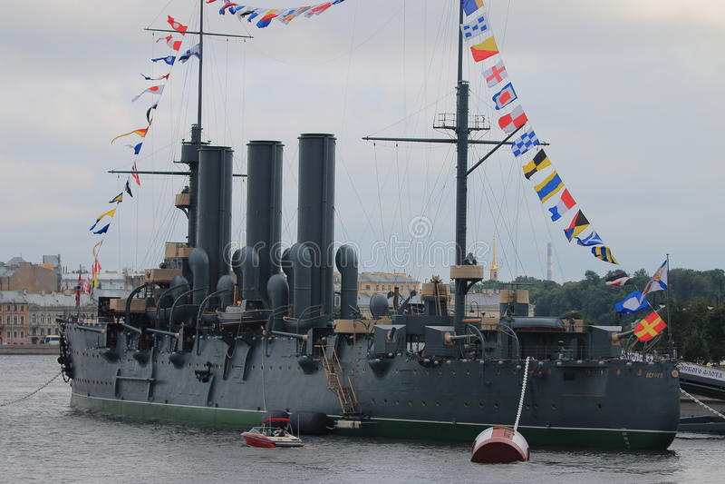 Aurora del crucero con las banderas de señal fotos de archivo libres de regalías